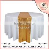 100%Polyester Rectangular Traditional sequin embroidery organza banquet table runner