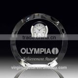 Round Optical Crystal Desk Clock Awards/Business Gifts