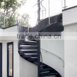 external used metal spiral staircase with glass tread and stainless railing/hot galvanized spiral stair