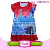 Hot sale wholesale red cotton frozen elsa anna baby dress cutting