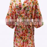 Wholesale cheap silk satin short floral bath robe