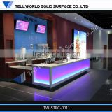 Artificial marble top frosted glass led lighting commercial reception desk