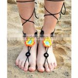 Fashion colorful Handmade Crochet Cotton Barefoot Sandals Yoga Ankle Chain Anklet Flower