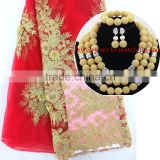 2016 new design French lace fabric material for nigerian dresses/Red+gold african lace fabric for Nigeria Wedding