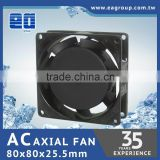 Taiwan TUV CE UL ROHS Certified AC Axial Cooling Fan AC Plastic Impeller in 80x80x25.5mm with HIGH EFFICIENCY
