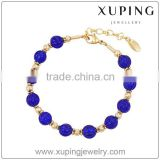 Xuping Factory supply bracelet beads, 18k gold color custom bracelet, blue bead bracelet for girl