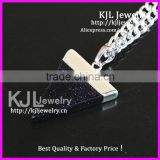 KJL-A0401 Triangle Blue sand Quartz Gem Stone Healing Chakra Pendant fit Necklace, Charm agate stone pendant In Silver bail