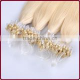 Hot sale blonde keratin 0.8g 25strands/bundle 100% Brazilian human remy micro ring loop hair extension