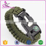 2016 Fashion Multifunction 550 Paracord Flint Fire Starter Survival Bracelet with Compass Manufacturer