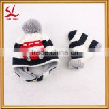 Winter Kids Knitted Hat Gloves Set Boys Girls Cotton Polar Fleece Beanie Mittens Set