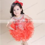 Cute red beaded organze sleeveless ball gown tutu flower girl dress patterns