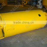 Double rock drilling bucket with round shank chisel for piling