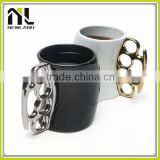 Fist shape handle white black blank coffee ceramic travel mug