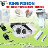 King pigeon Wireless Outdoor WiFi Camera Alarm +GSM/3G home alarm system