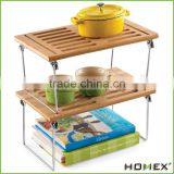 Hot sale bamboo stacking shelf Homex-BSCI