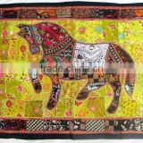Indian Old Fabric Wall Decor With Horse Figure - Handworked Cotton Fabric Patchwork Wall Hanging Tapestry