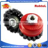 "4"" steel wire cup brush wheel twist knot crimped bowl disc abrasive M14 round grinding cheaning brush"
