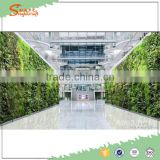 Double artificial grass plant wall / plastic artificial plant hang wall for art hall decor