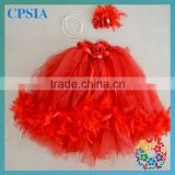 Girls 3 layers tutu dress match headband necklace set red solid dresses