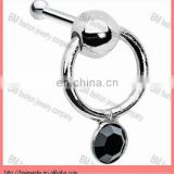 Jet Door knocker Nose Bone piercing jewelry rings in stainless steel with black crystal