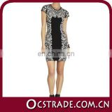 2014 short sleeves white and black cocktail dress prom dress fashion