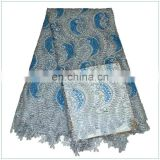 new arrive Beautiful Stones Teal Cotton Nigerian Guipure Lace Fabric, Leaf Cord Lace Fabric SD20150830118