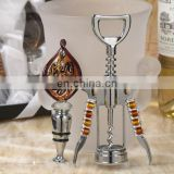 Gold and Brown Art Deco Wine Opener and Stopper Set