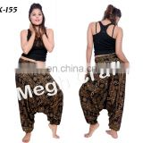 Aladdin Indian harem pants- Women baggy beach wear trousers- Indian Trouser Harem pants-black spiral design pants