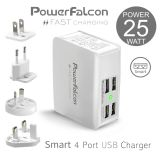 PowerFalcon 25W 5V 4 USB Ports Smart Charger,  With 4 Interchangable AC Plugs EU/AU/UK/US (Gray)