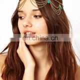 beach multilayer metal gold plated chain headband hair accessories tassel head chain jewelry