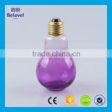 Manufacture colorful empty light bulb bottle empty glass candy jar