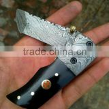 "udk f35"" custom handmade Damascus folding knife / pocket knife with buffalo horn and Damascus booster"