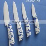 ABS TPR with beautiful butterfly pattern soft touch handle 94.7% zirconium oxide white blade ceramic kitchen knife