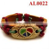 2012 Leather Bracelet with natural ox bones carved colored heart in red woolen yarn AL0022