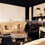 Hot sale solid walnut wood top grain leather leather sofa set luxury living room furniture