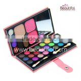 Private label make up set, handy combo makeup palette, shading powder / blusher / lippie / eyeshadow with mirror cosmetic kit