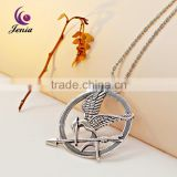 Jenia The Hunger Games Antique Silver Plated Bird Charm Necklace Pendant