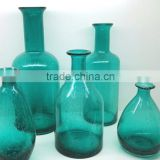 set e elegant shaperim scissor cut cased teal bule color bubble glass vase