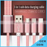 multi-function usb multi charger charging plug USB data line cable 8pins micro type c 3 in 1 for iPhone and Android