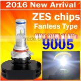 2016 Best selling car LED headlight bulb HB3 9005 30W 3000LM with 6pcs LEDs auto headlight conversion kit with ZES chips