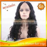 New Fashion Style!18'' #1b Deep Wave 100% Brazilian Virgin Hair Full Lace Remy U Part Wigs For Black Women For Sale