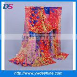 Hot sales high quality wholesale Peacock feather printed chiffon scarf WJ-690