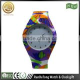 Magnificent printed pattern ladies silicone watch japan movt stainless steel back sr626sw