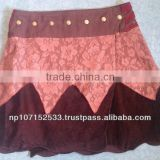 SHSK34 cototn velvet skirt with lace fabric covering in waist part button opening price 550rs $6.11
