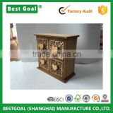 Home decoration unfinished carved 4 draws wooden packaging box                                                                                                         Supplier's Choice