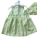 light green soft cotton baby embroidered dress with underwear baby dress designs