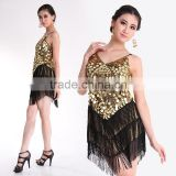 2016 New arrivals sexy fringe latin dance dress sequin women ballroom dance skirt on sale