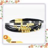 black leather cord gold beads bracelets