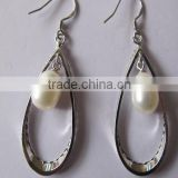 925 Sterling silver jewelry Pearl drop earrings for women-dangle earring with fresh water pearl drop-solid silver earring hook