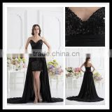 Elegant Real Sample Sweetheart A-line Black Sequins Ruffles Floor Length Beaded Prom Dress xyy07-055
